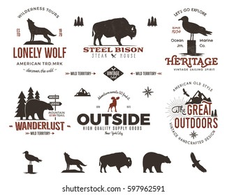 Wild animal badges set and outdoors activity insignias. Retro illustration . Typography camping style.  logos with letterpress effect. Custom explorer quotes. Rough?