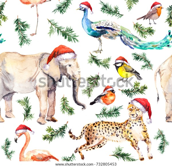 becc5cbcf Wild Animals Birds Red Holiday Hats Stock Illustration 732805453