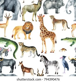 Wild animals (giraffe, elephant, cheetah, antelope) in savannah.  Watercolor Zoo seamless pattern.