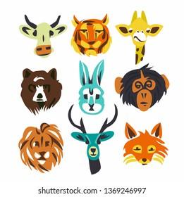 Wild animals, illustration, icon set, white background. Bear, rabbit, giraffe, fox, deer, monkey, lion, cow, tiger