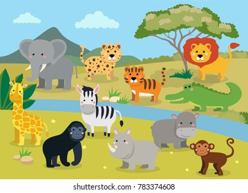 Wild animals with landscape - cute cartoon illustration of crocodile, rhinoceros, elephant, giraffe, leopard, tiger, zebra, monkey, lion, hippo, monkey