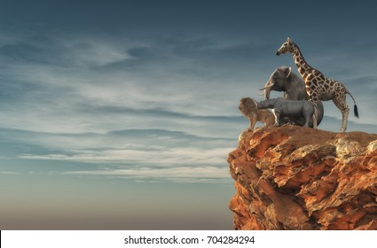 The wild animals - an lion, rhino, elephant, giraffe sitting on edge of a cliff and admiring the landscape. This is a 3d render illustration