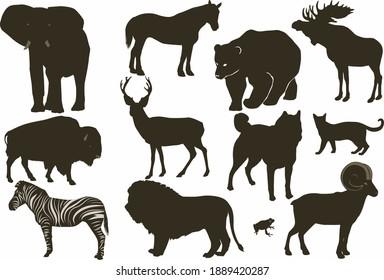 Wild Animals Silhouette, Lion, Bear, Elephant, Cat, Horse, Moose, Wolf, Zebra, Frog, Buffalo, Deer, Goat