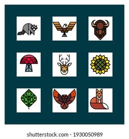 Wild animals symbols in white and dark green background