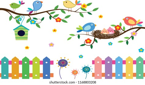 wild birds background colorful decoration