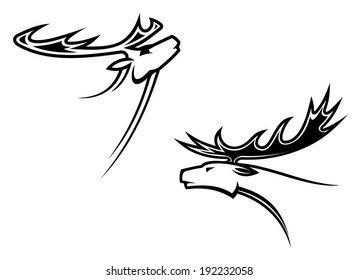 Wild deer mascots in tribal style for tattoo or another logo design. Vector version also available in gallery