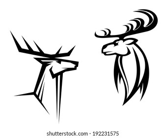 Wild deers with big antlers for mascot, tattoo, logo or hunting design. Vector version also available in gallery