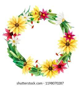 Wild flover  wreath watercolor backraund