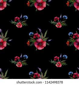 Wild Flowers. Black Backraund