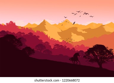 wild nature landscape illustration