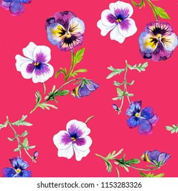 Wild pansy watercolor illustration  pattern