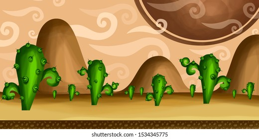 Wild West desert  Fantasy Wide Sci-fi Martian Background For Ui Game Illustration of a wide seamless cartoon funny sci-fi alien planet landscape background including weird mountains range cacti