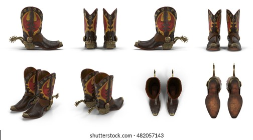 Wild west leather cowboy boots with spurs isolated on white 3d Illustration