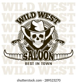 Wild west saloon , carved retro emblem.