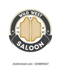 Wild west saloon vintage isolated label. American rodeo event badge, authentic cowboy show symbol illustration.