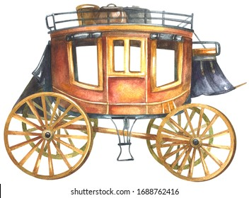 Wild west stagecoach. Watercolor painting isolated on white background.