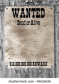 Wild West styled poster.Old Paper Texture On a old wooden background