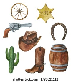 Wild west watercolor set. Collection with cowboy hat, sheriff badge, boots, barrel, wheel, horseshoe, cactus, revolver.