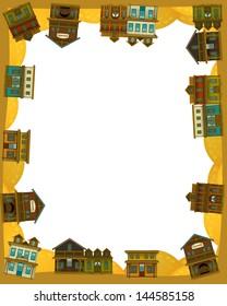 The wild west - western - Frame - border - template - illustration for the children