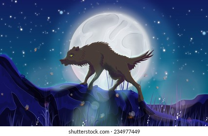 A Wild Wolf at night.