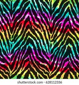 wild zebra print over rainbow watercolor background ~ seamless background