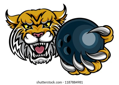 A wildcat angry animal sports mascot holding a ten pin bowling ball