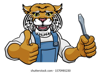 A wildcat electrician, handyman or mechanic holding a screwdriver and peeking round a sign and giving a thumbs up