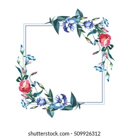 Wildflower Eustoma flower frame in a watercolor style isolated. Full name of the plant: Eustoma russellianum. Aquarelle wild flower for background, texture, wrapper pattern, frame or border.