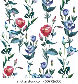 Wildflower Eustoma flower pattern in a watercolor style isolated. Full name of the plant: Eustoma russellianum. Aquarelle wild flower for background, texture, wrapper pattern, frame or border.