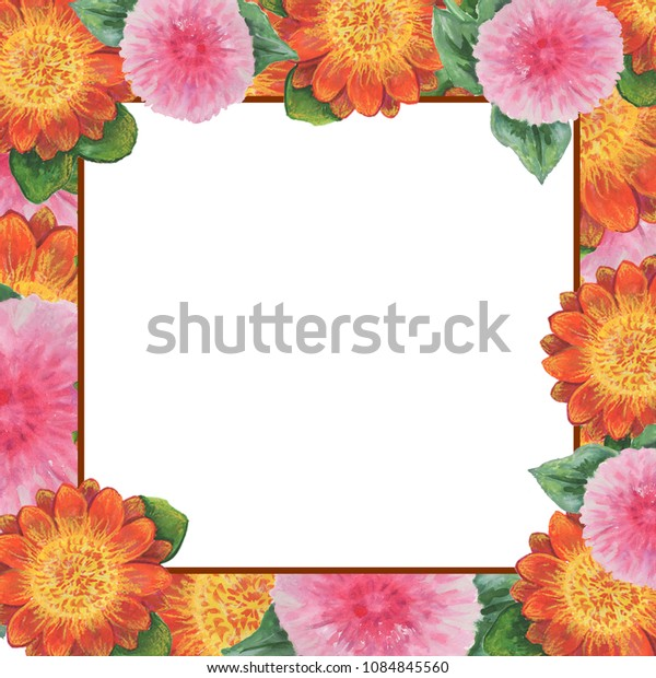 Wildflower  flower frame in a watercolor style.Aquarelle wild flower for background, texture, wrapper pattern, frame or border.