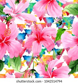 Wildflower hibiscus pink flower pattern in a watercolor style. Full name of the plant: hibiscus. Aquarelle wild flower for background, texture, wrapper pattern, frame or border.