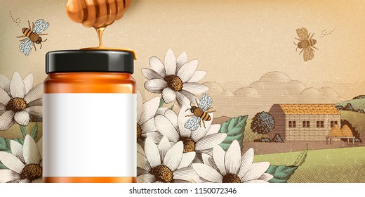 Wildflower honey product in 3d illustration with blank white label for design uses on engraved country side scenery