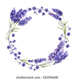 Wildflower lavender flower wreath in a watercolor style isolated. Full name of the plant: lavender. Aquarelle wild flower for background, texture, wrapper pattern, frame or border.