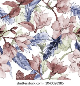 Wildflower magnolia flower pattern in a watercolor style. Full name of the plant: magnolia. Aquarelle wild flower for background, texture, wrapper pattern, frame or border.
