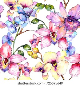 Wildflower orchid flower pattern in a watercolor style. Full name of the plant: colorful orchid. Aquarelle wild flower for background, texture, wrapper pattern, frame or border.