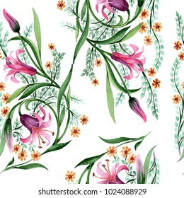 Wildflower ornament flower pattern in a watercolor style. Full name of the plant: lily. Aquarelle wild flower for background, texture, wrapper pattern, frame or border.