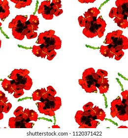 Wildflower Poppy Flower Pattern In A Watercolor Style Full Name Of The Plant