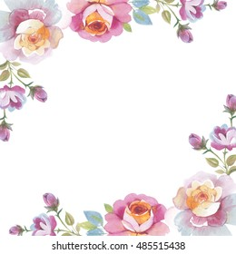 Wildflower rose flower frame in a watercolor style isolated. Full name of the herb: rose, Hulthemia, Rosa. Aquarelle flower could be used for background, texture, pattern, frame or border.