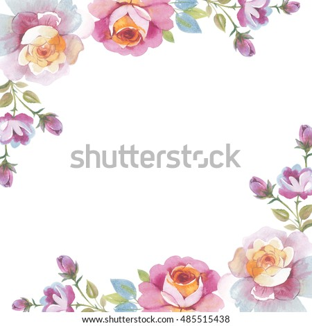 Wildflower Rose Flower Frame Watercolor Style Stock