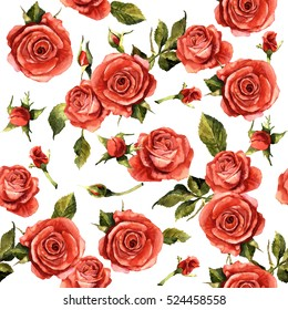 Wildflower rose flower pattern in a watercolor style isolated. Full name of the plant: red rose,hulthemia, rosa. Aquarelle wild flower for background, texture, wrapper pattern, frame or border.