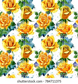 Wildflower rose flower pattern in a watercolor style. Full name of the plant: yellow rose. Aquarelle wild flower for background, texture, wrapper pattern, frame or border.