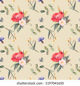 Wildflower watercolor seamless pattern  to help you create! Perfect for textile and packaging. 4000x4000, jpeg