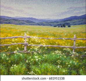 Wildflowers. The mountains summer. painting. art