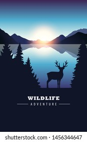 wildlife adventure elk in the wilderness by the lake at sunset illustration