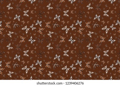 Wildlife insect fauna backdrop for cover. Beautiful seamless butterfly iterative texture isolated on contrast back layer. Nature butterfly repeat theme in brown, white and black colors. Raster design.