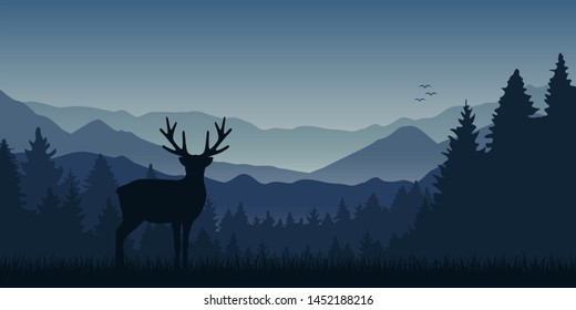 wildlife moose blue mountain and forest landscape illustration