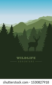 wildlife reindeer on green mountain and forest landscape illustration