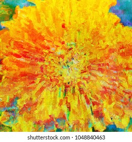 Wildly colorful abstract digital painting of a marigold