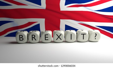 Will Britain leave European Union (EU) on March 29th? 3D render illustration of Brexit.