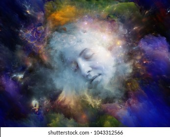 Will Universe Remember Me series. Design composed of human face and fractal smoke nebula as a metaphor on the subject of human mind, imagination, memory and dreams